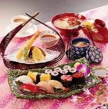ランチ限定☆ お寿司に天ぷら、茶わん蒸しにお味噌汁付き! 「寿司定食 初花」
