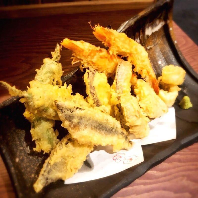 新鮮魚介と野菜の天麩羅6種