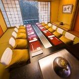 静かで落ち着きある個室は2~10名様対応の6タイプ・13部屋ご用意