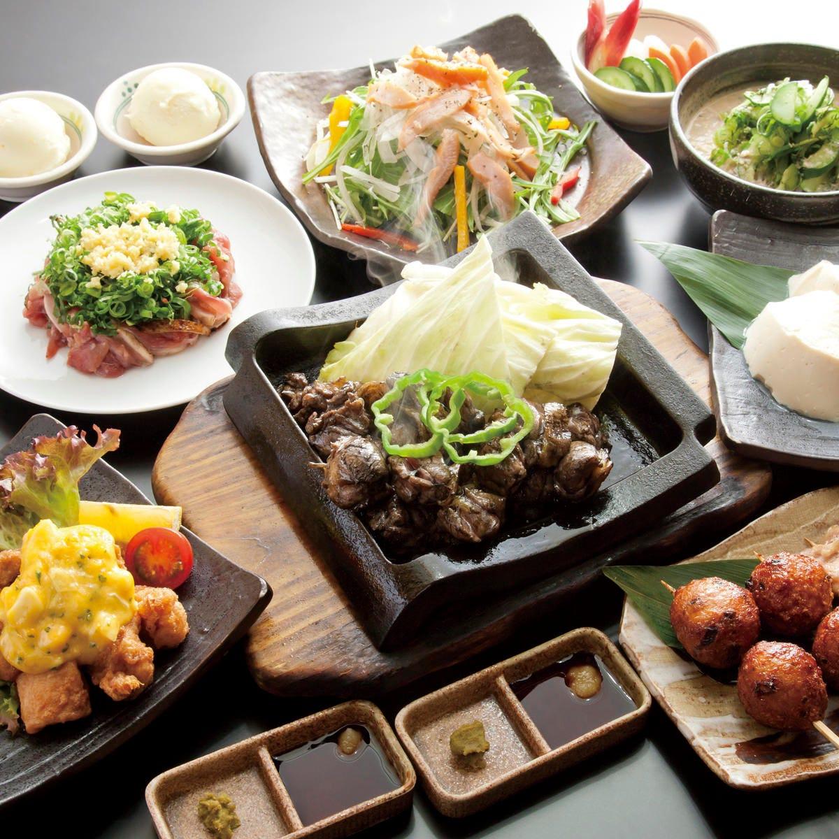 宮崎地鶏と飲み放題のコースが人気