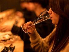 お洒落なグラスで日本酒女子会♪