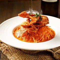 渡り蟹のトマトクリームスパゲッティ
