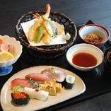 おすすめ御膳【殿 御膳】(おまかせ寿司、小鉢、天ぷら、酢の物、本日のお椀)3,090円