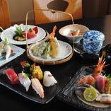 おまかせコース【蘭】(前菜、刺身、焼物、揚物、茶碗蒸し、寿司、お椀、デザート)4,320円
