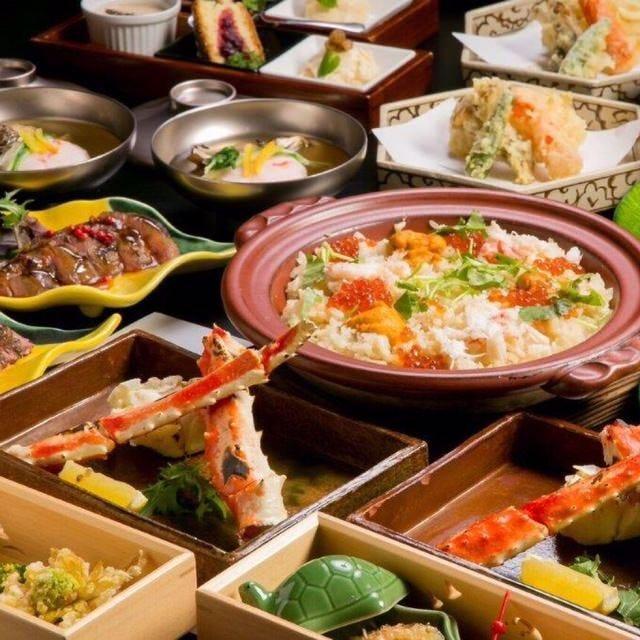 【籠】コース:お料理11,000円(税込) §たらば蟹と雲丹がメイン、北海道食べ尽くしコース§
