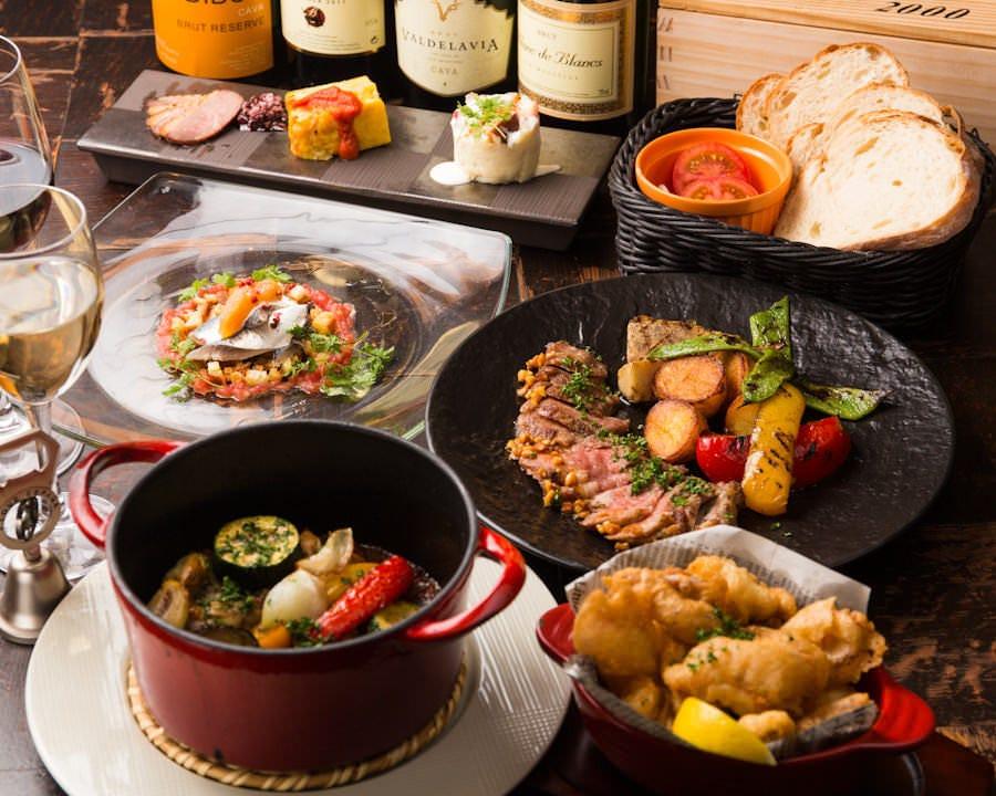 本格スペイン料理の飲放題付きコース