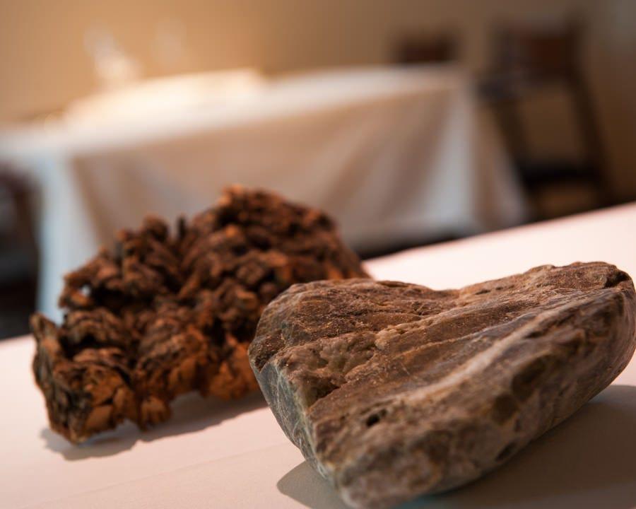 石やコルクなど自然素材を器に