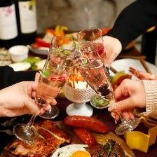 【アップグレード】終日3H飲み放題&ワールド瓶ビール+黒毛和牛焼肉付バーベキューコース6500円