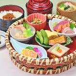 様々な和食を楽しめる「彩り篭盛膳」1,500円