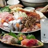 お造り、唐揚げ、お寿司、サラダに焼き物、塩ゃんこコース!
