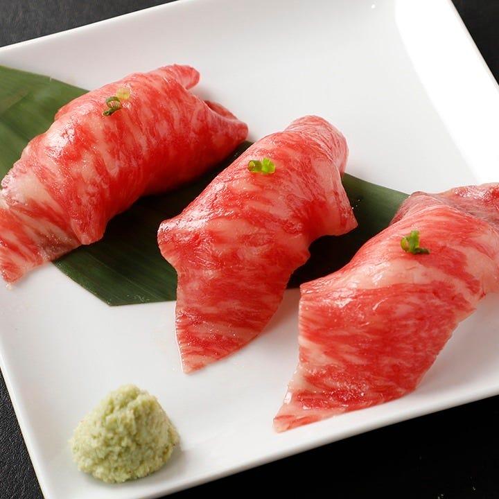 肉の味をしっかり味わう松坂牛の握り