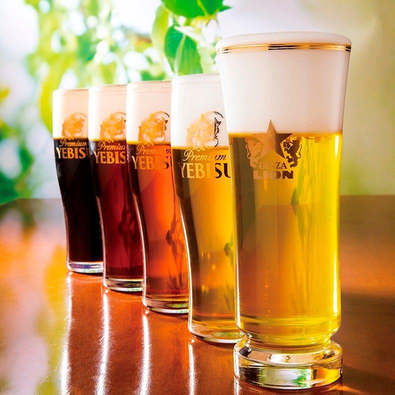 自慢の生ビールは全5種類、ゲストビールは来てからのお楽しみ♪