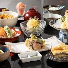 お昼の天ぷらコース『葵』魚介と京野菜、天ぷらは季節のおまかせを13種。先付、お食事含む全17品