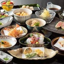 京風天ぷら会席『東山』天ぷらは京都牛、うに等10種。活車海老と旬魚介の造里、季節を写した逸品全21品