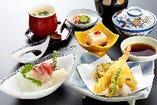 時間のない時でも安心「天刺膳」 天ぷらもお刺身も楽しめます