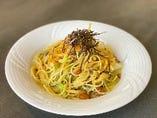 【パスタ】高菜とキノコの和風パスタ
