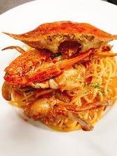 渡り蟹とアサリのトマトクリームソース