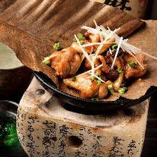 薩摩赤鶏の朴葉味噌焼き