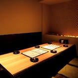 当店は全席完全個室。落ち着いてお食事をご堪能いただけます