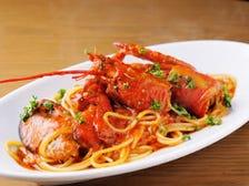 活オマール海老のトマトソース スパゲッティ