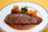 麦育ち牛のステーキセット ライス・スープ付