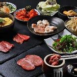 『お手軽焼肉コース』は、壺漬けハラミにタン塩、ホルモン、ナムルなど全9品が楽しめます