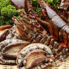新鮮な魚介の鉄板焼