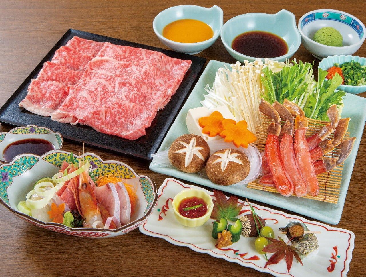 《旬魚刺身》と《蟹とお肉》の二種類のしゃぶしゃぶコース