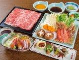 《旬魚刺身》と《蟹》《肉》の2種類のしゃぶしゃぶをどうぞ!