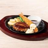 All Beef ハンバーグ&海老フライ~選べるソース