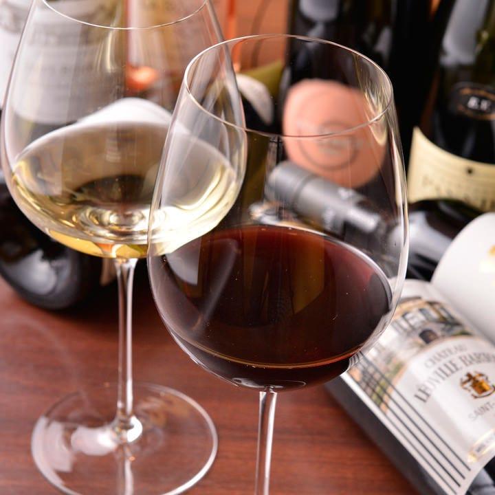 飲み放題に含まれるワインもソムリエがしっかり吟味するこだわり