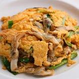 マテ貝の卵炒め。マテ貝のクセの無い上品な旨みと、ふわふわの卵が優しいアクセントに!
