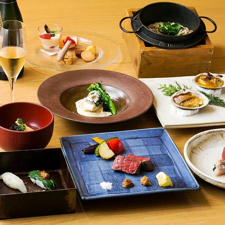 旬の食材を匠の技で絶品料理に仕上げたコースを7,000円~ご用意