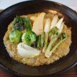 春野菜の肉味噌焼き