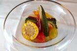 天使海老と夏野菜の揚げ浸し