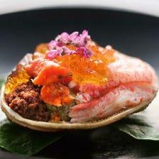 -◇特上蟹コースプラン◇-ズワイガニ水炊きや蟹と鮮魚刺身3点盛り含む8品蟹尽くし6,600円