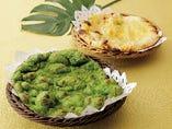 5種類のナン(プレーン・グリーン・ガーリック・ポテト・チーズ)が一斉に登場◎