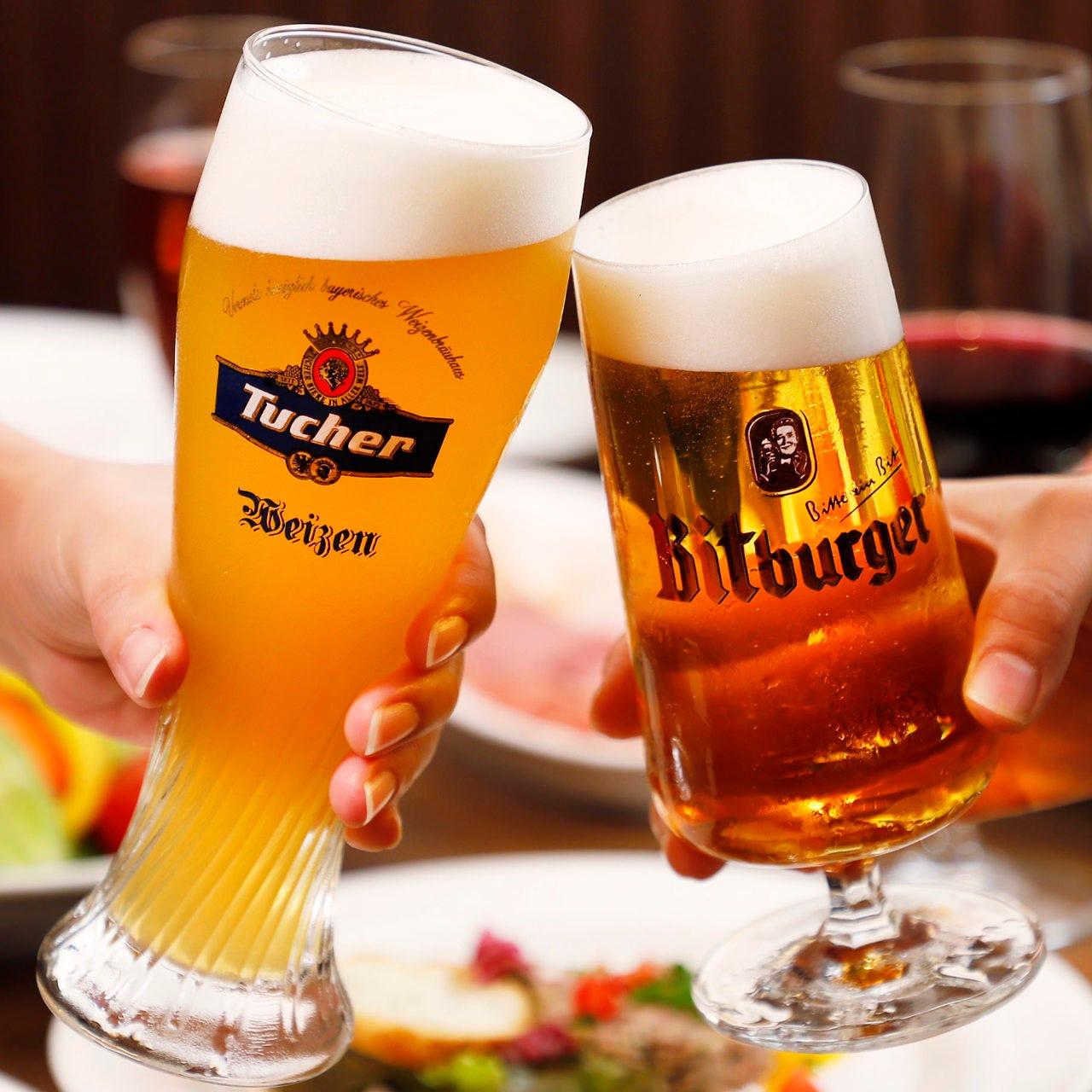 樽出しドイツビール含む飲み放題付きコースも♪相性抜群です!!