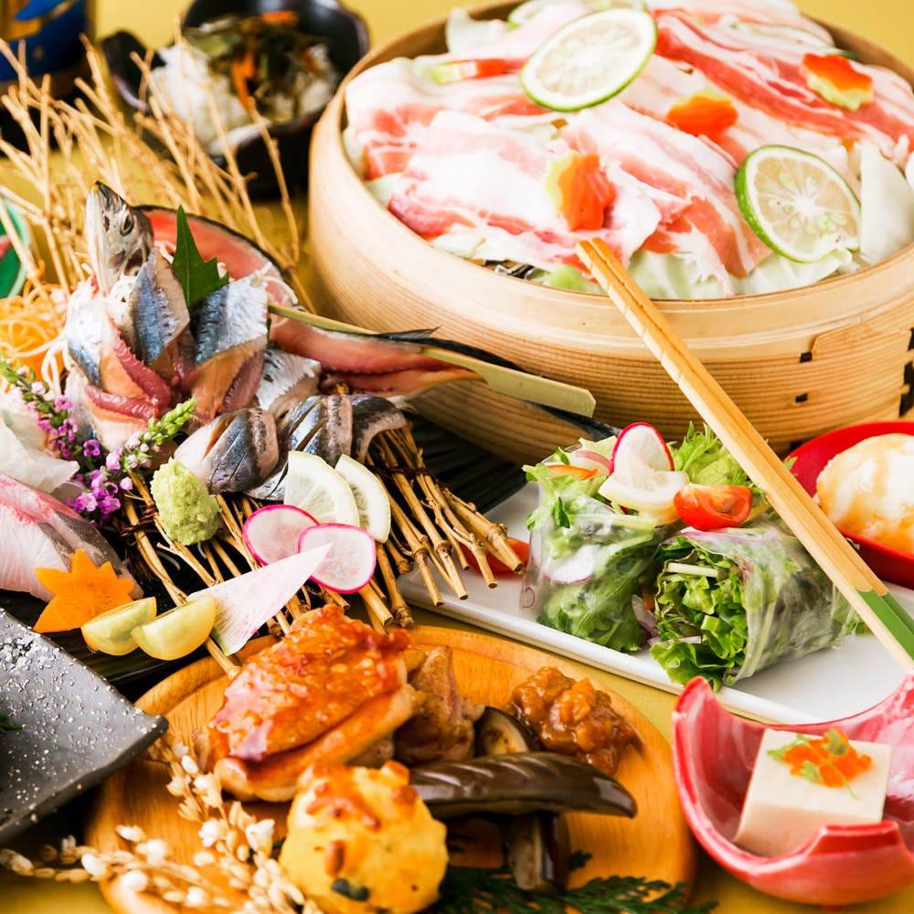 【週末もOK】2時間飲み放題付き■地魚と鶏ももの鍬焼き・夏野菜の天ぷらコース[全10品]