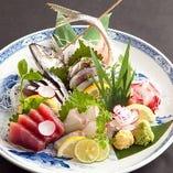 毎朝築地から届く鮮魚をお造りでお楽しみください