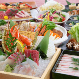 UENO3153店オリジナルコース もつ鍋・鹿児島県産黒豚しゃぶしゃぶ・海鮮ちゃんこ鍋から選べる鍋と刺身6点盛合せや錦江湾鮮魚と旬野菜の天ぷらの盛り合わせなどちょっと贅沢なコース料理