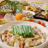 桜島コース 選べる鍋と桜島大根2色漬け、鹿児島県産黒豚天ときびなごの唐揚げなど内容充実でお手頃のコース