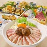薩摩コース メインはさつま若しゃもの水炊きか明太もつ鍋を選べるお得なコース