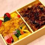 黒毛和牛炙り重と松山鶏ミンチカツ 弁当