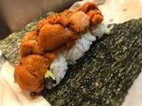 雲丹の手巻き寿司