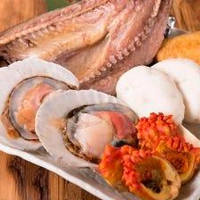 新鮮魚介は刺身や浜焼きスタイルで!