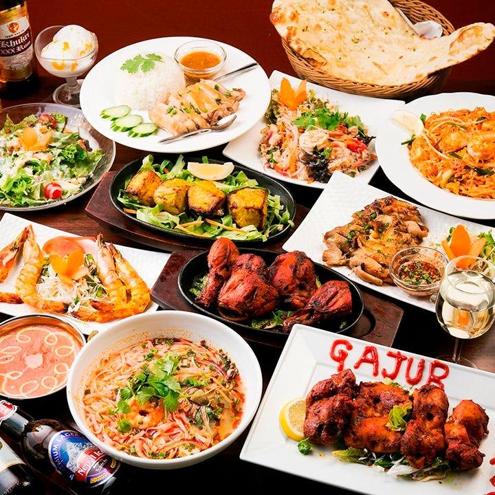 アジアン料理を楽しめるコースが2時間飲み放題付で3,500円から!