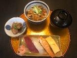 寿司4ヶ+穴子丼