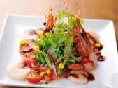 ◆旬鮮!『いろいろ魚介のカルパッチョ 焦がし醤油ソース』