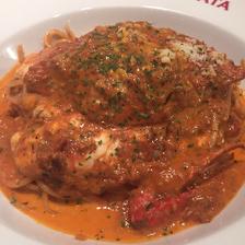 渡り蟹ととろけるチーズのトマトクリームソース